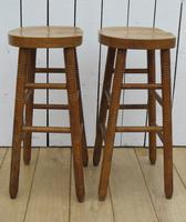 Pair of Oak Tall Bar Stools (5 of 8)