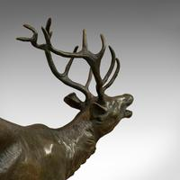 Antique Stag Bronze, French, Deer, Elk, Prosper LeCourtier, Victorian c.1900 (8 of 12)