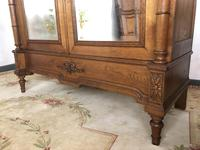 Antique French Carved Armoire Housekeepers 2 Door Mirrored Wardrobe (6 of 8)