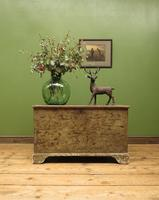 Large Antique Old Painted Green Distressed Pine Trunk Chest, Rustic Blanket Box (15 of 18)
