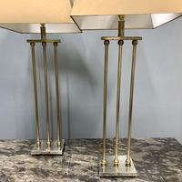 Pair of Chrome & Brass Rodded Table Lamps (3 of 9)