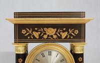 French Ebonised and Inlaid Portico Mantel Clock (5 of 10)