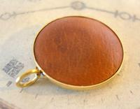 Vintage Pocket Watch Chain Compass Fob 1950s Tan Leather & Gilt Drum Case Fob FWO (7 of 9)