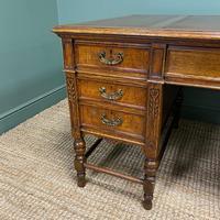 Stunning Victorian Maple & Co Antique Oak Pedestal Desk (8 of 9)