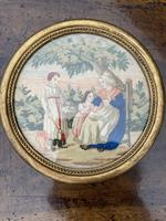 Pair of circular needlepoint pictures in original gilt frames (4 of 4)