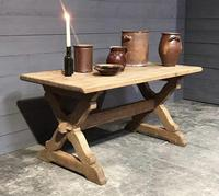 Small French Oak Farmhouse Kitchen Dining Table (10 of 11)