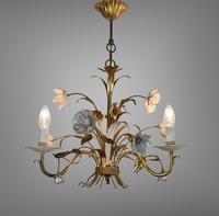 Pair of Vintage French 3 Arm Gilt Toleware Ceiling Light Chandeliers (3 of 10)