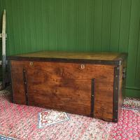 Antique Victorian Bound Campaign Chest Old Rustic Pine Wooden Storage Trunk + Full Zinc Interior + Key (4 of 10)