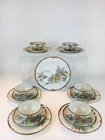 Beautiful Hand Painted Japanese Eggshell Porcelain Tea Set c1905