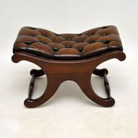 Regency Style Leather Armchair & Stool (10 of 14)