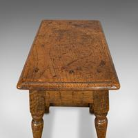 Small Antique Joint Stool, Oak, Seat, Side Table, Jacobean Revival, Victorian (2 of 11)