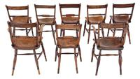 Matched Set of 8 Elm & Beech Kitchen Dining Chairs Mid-19th Century Oxford Knife-back (2 of 8)