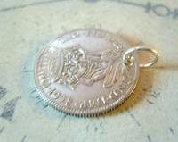 Antique Pocket Watch Chain Fob 1928 Lucky Silver One Shilling Old 5d Coin Fob (7 of 7)
