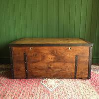 Antique Victorian Bound Campaign Chest Old Rustic Pine Wooden Storage Trunk + Full Zinc Interior + Key (2 of 10)