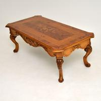 French Style Burr Walnut Inlaid Marquetry Coffee Table (4 of 10)