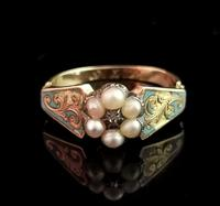 Antique Regency Mourning Ring, 18ct Gold, Blue Enamel (4 of 10)
