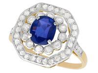 1.02ct Sapphire & 0.62ct Diamond, 10ct Yellow Gold Cluster Ring - Antique c.1910