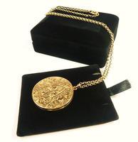 World War I Era Hallmarked Gold Locket 1915 on 17 Inch Chain (8 of 11)