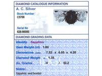 1.80ct Sapphire & 1.35ct Diamond, 18ct White Gold Trilogy Ring c.1935 (6 of 9)