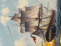 "Seascape Oil Painting Naval Frigate Ships Napoleonic War Sea ""Battle Trafalgar"" (9 of 25)"