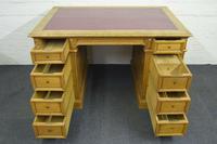 Antique Solid Oak Pedestal Desk (3 of 10)