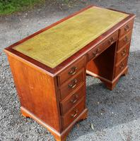 1960s Yew Wood Pedestal Desk and Green Leather Top (3 of 4)