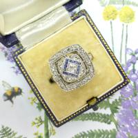 Authentic Art Deco Platinum Rose Cut Diamond & Sapphire Cluster Ring c.1920 (11 of 11)