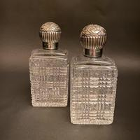 Pair Silver & Crystal Victorian Mappin & Webb Scent Bottles