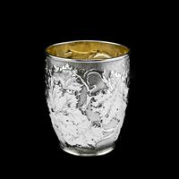 Antique Victorian Solid Silver Beaker / Cup with Superb Naturalistic Grapevine Design - Barnard 1871 (3 of 16)