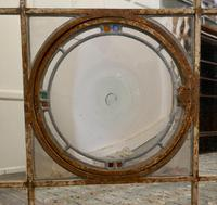 Large 19th Century Industrial Window Mirror with Central Leaded Bottle Glass Opening (5 of 8)