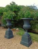 Fine Pair of Cast Iron Campana Garden Urns c.1900 (3 of 8)