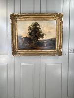 Antique Victorian Landscape Oil Painting of Inn with Figures (10 of 10)