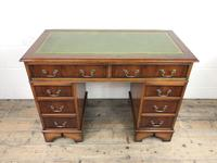 Late 20th Century Yew Wood Pedestal Kneehole Desk (13 of 14)