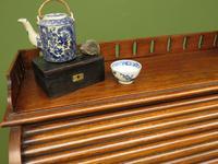 Antique Oak Roll Top Writing Desk, Tambour Front Bureau Desk (12 of 20)