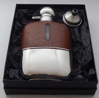 Silver Plated Palm Leather Bound Glass Hip Flask James Dixon 5/16 Pt c.1910 (12 of 12)