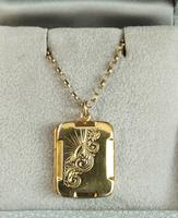 Art Deco 9ct Back & Front Gold Locket on Chain (3 of 10)