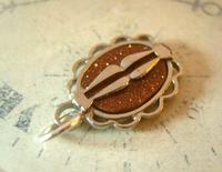 Pocket Watch Chain Fob 1930s Art Deco Silver Chrome & Goldstone Fob Nos (6 of 7)