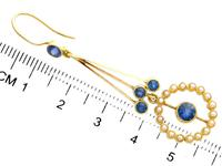 2.02ct Sapphire and Seed Pearl, 15ct Yellow Gold Drop Earrings - Antique Circa 1910 (7 of 9)