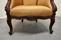 French Carved Walnut & Salon Chair, Upholstered in Silk (5 of 10)