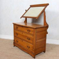 Satinwood Dressing Table Mirrored Arts & Crafts (5 of 10)