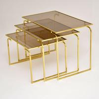 1970's Vintage Italian Brass & Glass Nest of 3 Tables (7 of 10)