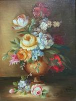 Superb Original Early 20th Century Continental Miniature Floral Still Life Oil Painting (3 of 11)