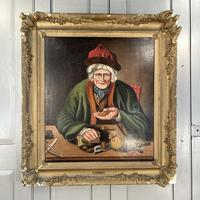 Antique Georgian Oil Painting Portrait Entitled The Miser by C Hind 1823 (2 of 10)
