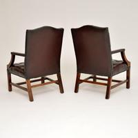 Pair of Antique  Deep  Buttoned Leather Library Armchairs (5 of 12)