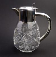 Substantial WMF Deep Cut Glass & Silver Plate Cooling Lemonade Jug c.1935 (3 of 10)