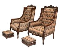 Pair of Victorian Salon Chairs Arm Club Chair Stools (2 of 15)