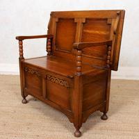 Oak Monks Bench Settle Carved Folding Hall Arts & Crafts (7 of 12)