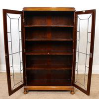Oak Leaded Glass Bookcase (7 of 15)