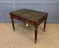 Victorian Mahogany 2 Drawer Reeded Leg Writing Table (12 of 15)