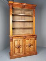 Antique Victorian Golden Oak Open Bookcase (3 of 20)